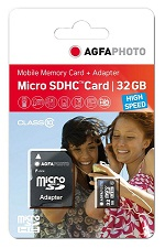 AgfaPhoto 32GB MicroSDHC Class 10 - Tarjeta de memoria (32 GB, Micro Secure Digital High-Capacity (M