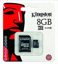 KINGSTON MICROSD 8GB CLASE 10 - KINGSTON MICROSD 8GB CLASE 10  ¿Qué destacamos del KINGSTON MICROSD 8GB CLASE 10?  .8GB de capacidad .Clase 10