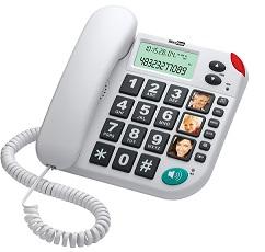 TELEFONO MAXCOM KXT-480 CON NUMEROS EXTRA GRANDES COLOR BLANCO