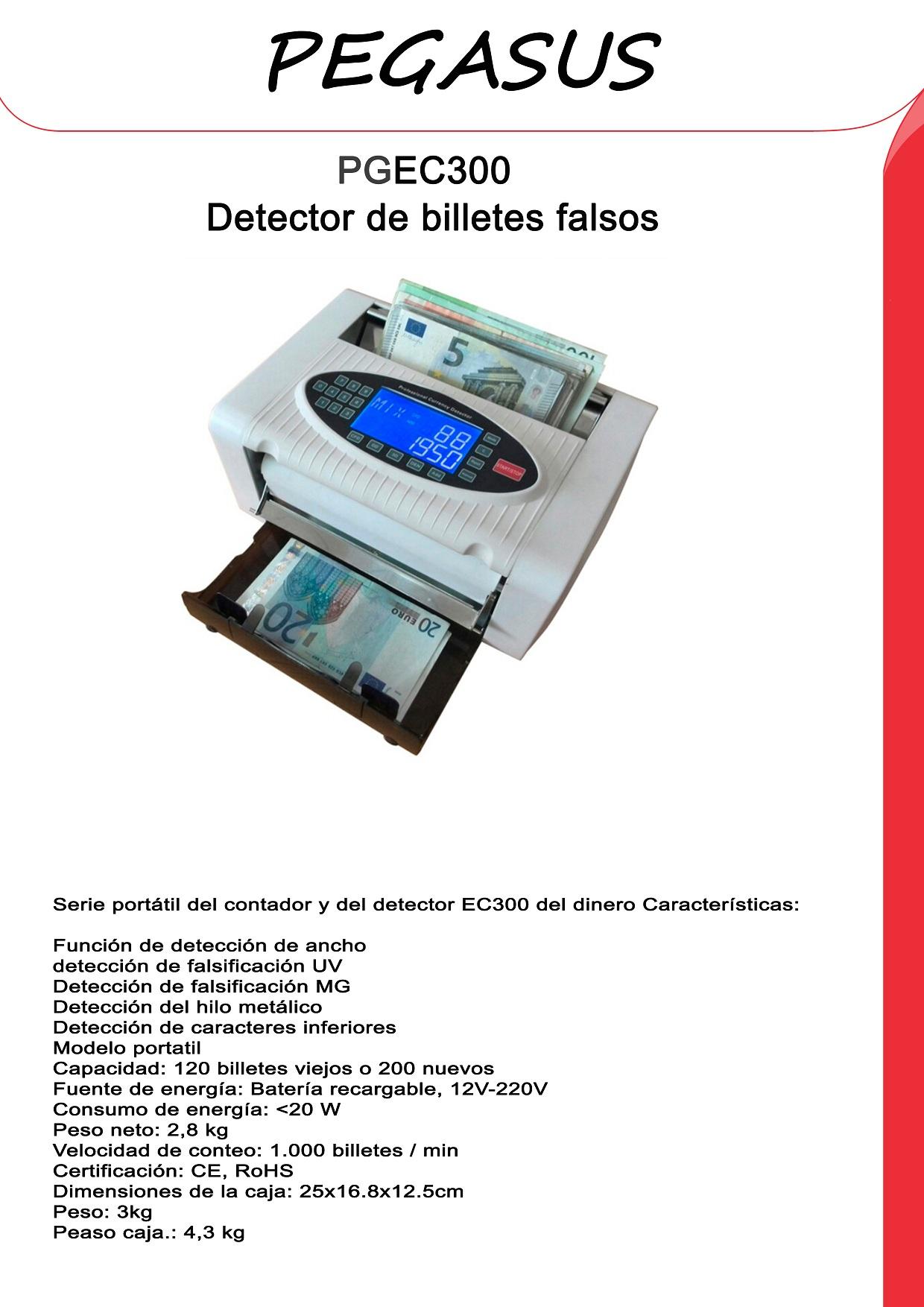 Detector de billetes falsos y contador Pegasus PGEC300