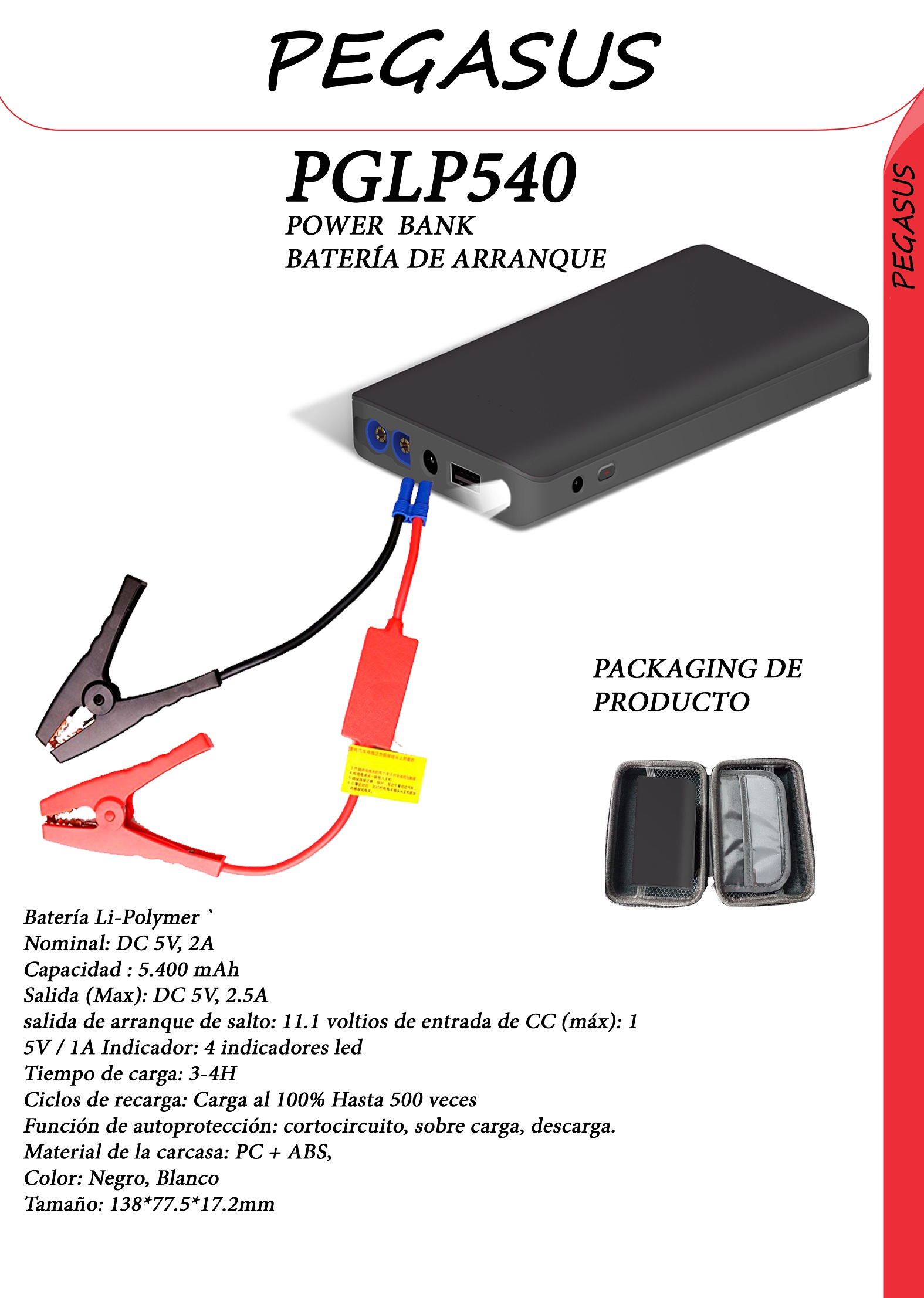 Arrancador de Batería Pegasus PGLP 540