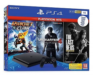 SONY PLAYSTATION 4 SLIM 1TB PACK THE LAST OF US + RATCHET AND CLANK + UNCHARTED 4  SKU: +99847