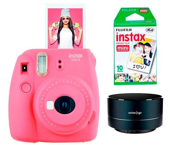 FUJIFILM KIT INSTAX MINI 9 ROSA FLAMINGO CÁMARA INSTANTÁNEA CON FLASH Y ALTAVOZ BLUETOOTH