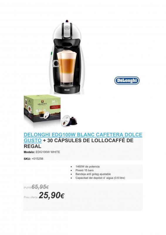 DELONGHI EDG100W BLANCO CAFETERA DOLCE GUSTO CON 30 CAPSULAS DE CAFÉ DE REGALO